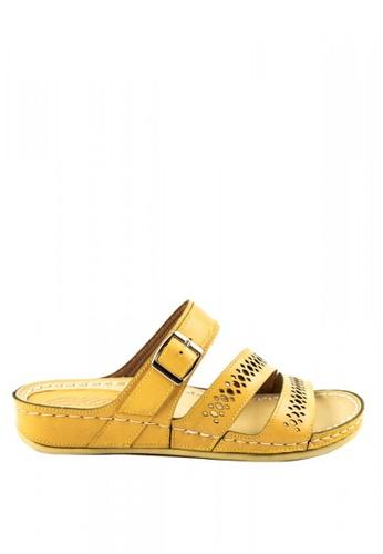 Otto yellow Laser Cut Sandals 7A98CSHA10008CGS_1