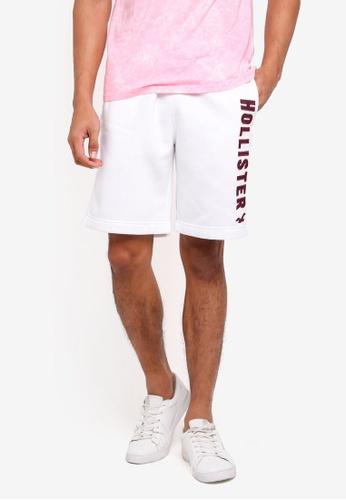 Hollister 白色 Logo抽繩棉短褲 7FEF8AA0AB12A9GS_1