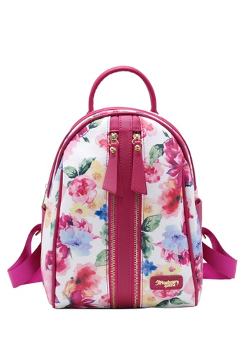 STRAWBERRY QUEEN blue Strawberry Queen Dual Front Zipper Floral Backpack - Candy (Floral A, Blue) D9C24AC9FA5BBDGS_1