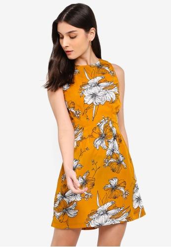 ZALORA white and yellow Pleats Details Dress 30EDFAA928BE75GS_1