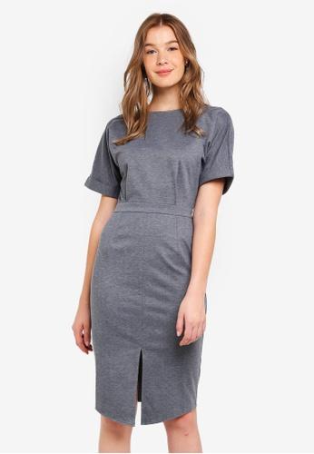 ZALORA BASICS grey Basic Drop Shoulder Dress 3E7D7AA6C4E67AGS_1