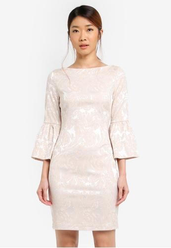 Vesper gold Amy Jacquard Shift Dress With Frill Cuff C3D4AAA7D73693GS_1