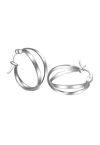 SC Tom Silver silver Crossover Loop Earring SC872AC59HNWPH_1