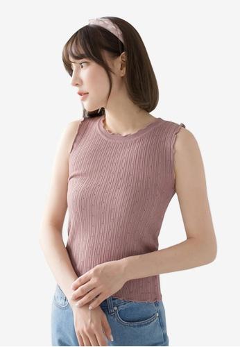 Tokichoi pink Sleeveless Knit Top 9908BAA874E084GS_1