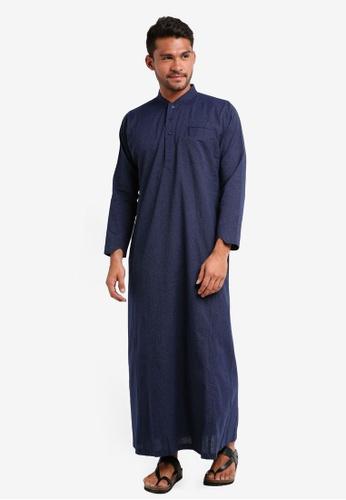 Lubna blue Stripe Jubah 08E41AAA6A24C2GS_1