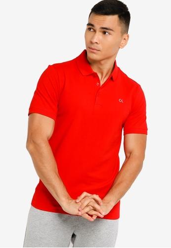Calvin Klein red Core Monogram Polo Shirt - CK Performance B44F1AAE0890C4GS_1