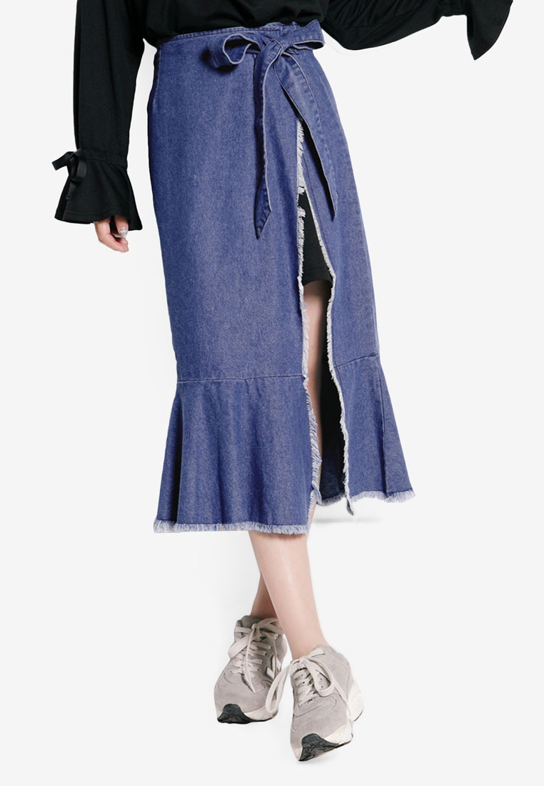 Tokichoi Denim Blue Mermaid Skirt Wrapped Zrqr5UOw