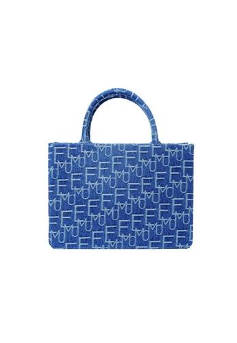 EMO blue Korean fashion Brand‧Handheld‧Denim Pincess Bag (L) - Light Blue 95ED3AC3C7EA3BGS_1