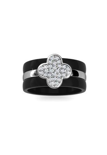 Her Jewellery black Clover Ceramic Ring (Black) - Crystals from Swarovski® HE210AC0FTQPSG_1