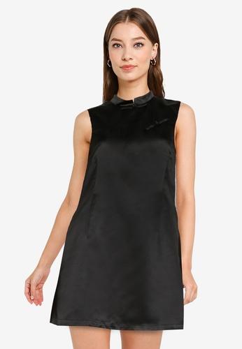 ZALORA OCCASION black Mandarin Collar Swing Dress D81BAAA3762E24GS_1