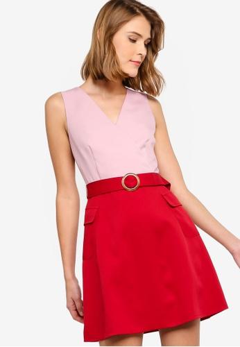 ZALORA 紅色 and 粉紅色 無袖綁帶洋裝 13A02AAC6D9974GS_1