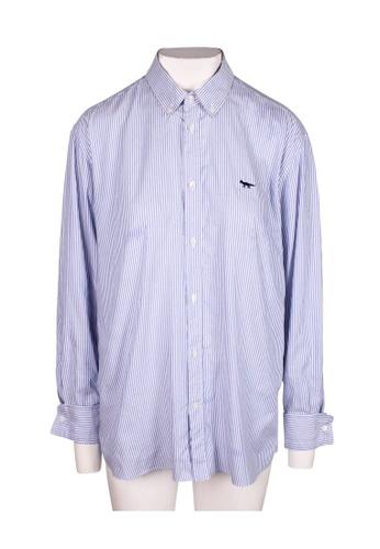 Maison Kitsune blue maison kitsune Long Sleeves Striped Blue Shirt DEB50AABF31FA2GS_1