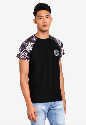 Burton Menswear London black Black And Blue Floral Raglan T-Shirt With Chest Print A7558AADCA087FGS_1
