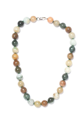 Celline Silver green Old Jade Beads Necklace B0C80AC8E0D10EGS_1