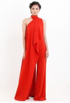 [PRE-ORDER] Asymmetric Pantsuit With Draping Detail