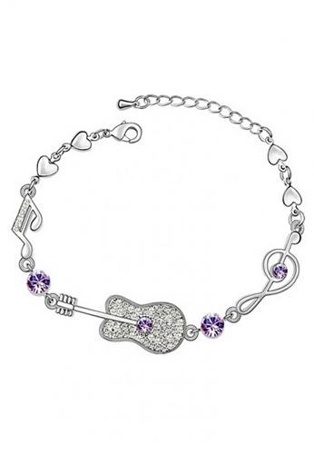 LOVENGIFTS purple and silver LOVENGIFTS Glitter Guitar Bracelet (Lavender) LO429AC63YSAMY_1