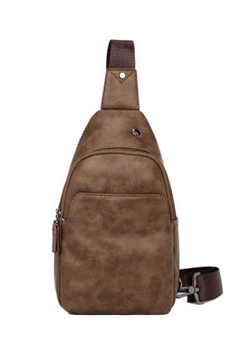 Lara brown Men Zipper Cross Body Bag - Brown 44D1BAC93A0A85GS_1