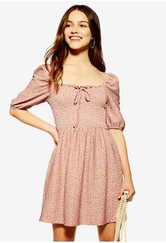 23a0dd486d3 TOPSHOP pink Petite Shirred Mini Dress F028AAAE029971GS_1