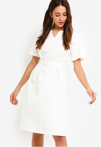 ZALORA white Flare Sleeves Fit And Flare Dress 1ADD7AAC2C0FC9GS_1