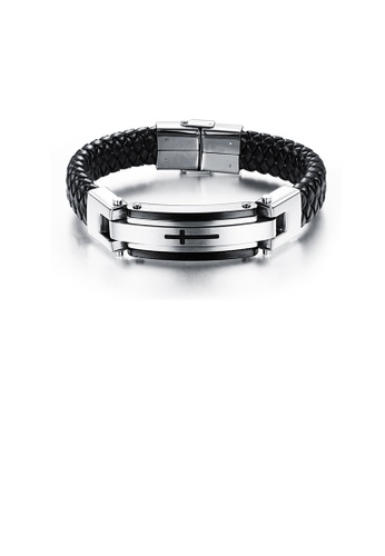 Glamorousky silver Fashion and Elegant Cross 316L Stainless Steel Leather Bracelet D3AB5AC5B6ABB0GS_1