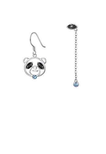 Glamorousky black 925 Sterling Silver Cute Bear Asymmetric Earrings with Austrian Element Crystal 86D68ACB4BAB6AGS_1
