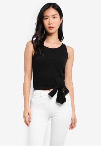 Cotton On black Tegan Side Tie Bodycon Top CO372AA0SEC7MY_1