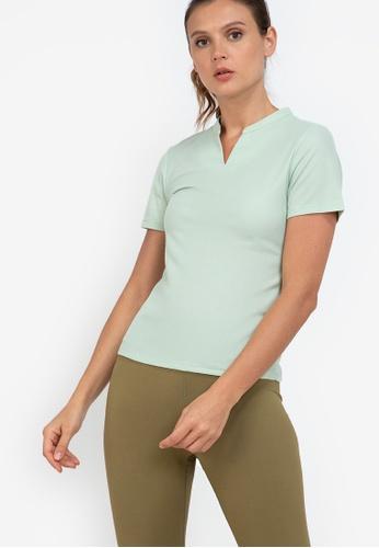 ZALORA ACTIVE green Mandarin Collar Polo Tee Top CC30FAA0297C4DGS_1