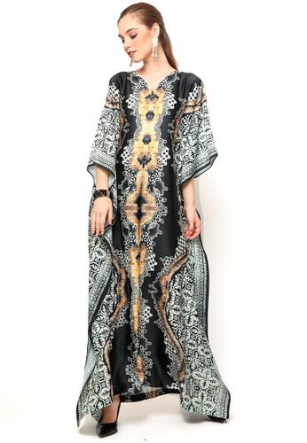 Kanzi by liza yahya black and white Kanzi Exclusive Short Sleeve Batik Kaftan D8CD6AAA93E01AGS_1