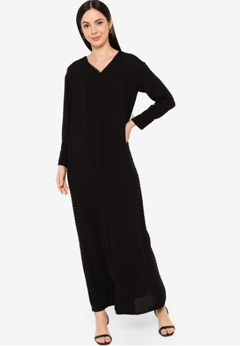 ZALIA BASICS black Trimming Detailed Maxi Dress 26E2FAA7871B42GS_1