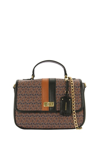 SEMBONIA brown SEMBONIA Coated Canvas Trimmed Leather Shoulder Bag SE598AC0RCEQMY_1