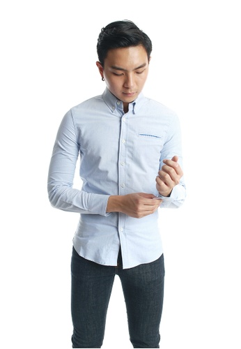 Praise blue Long Sleeves Oxford Shirt PR067AA70KKBSG_1