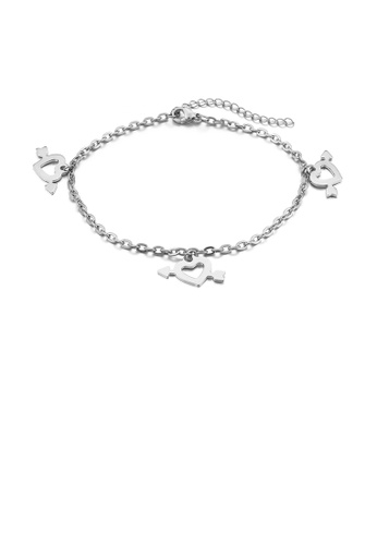 Glamorousky silver Fashion and Romantic Cupid's Arrow Heart Shaped 316L Stainless Steel Anklet 62079AC74F27DBGS_1