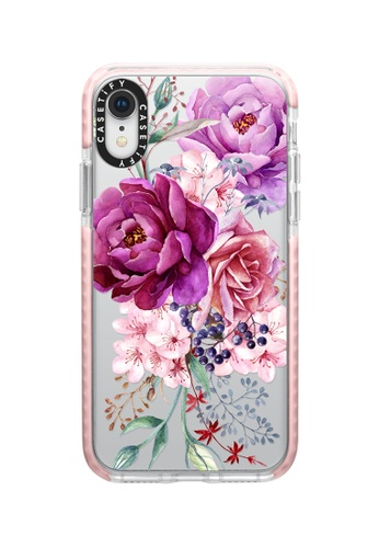 Casetify pink and multi Purple Peony Watercolour Impact Protective iPhone XR Case - Baby Pink 1CA23AC1A7A3B1GS_1