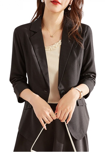 HAPPY FRIDAYS black Casual Chic Mid Sleeve Suit Jacket JW ZX-60272 2C1A9AA4206193GS_1