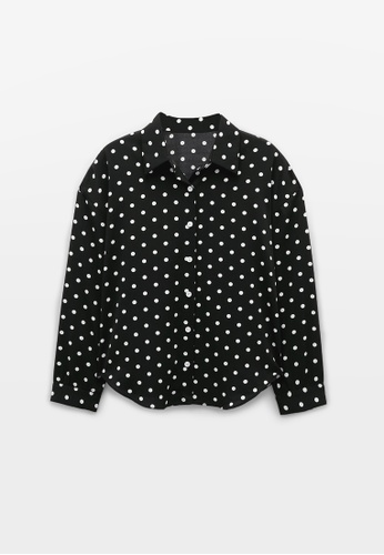 Pomelo black Polka Dot Long Sleeves Shirt - Black 8F924AAB075760GS_1