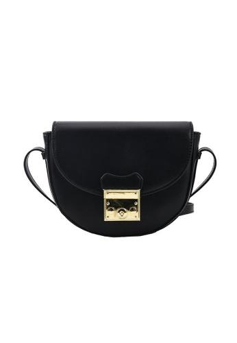 Lara black Women's Elegant Saddle Bag - Black 8BFF0ACF031B54GS_1