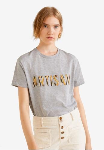 Mango grey Textured Message T-Shirt B3B08AA8EECEE9GS_1
