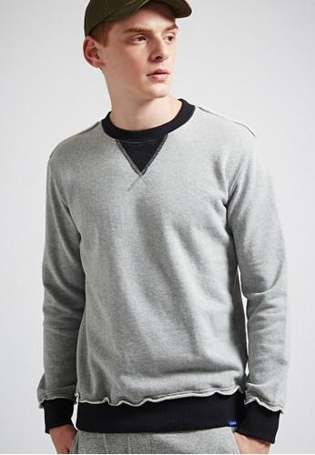 率性休閒。高磅純棉。不收邊配色圓領T-esprit outlet 家樂福MIT-03605-麻灰, 服飾, 長袖T恤