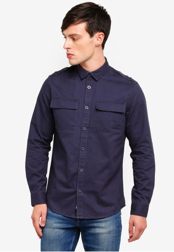 Only & Sons blue Klaus Washed Twill Shirt 74C58AA6ABBA77GS_1
