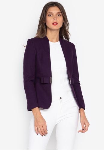 Well Suited purple Fitted Buckle Waist Woolen Blazer 6FE7DAA9D5AECCGS_1