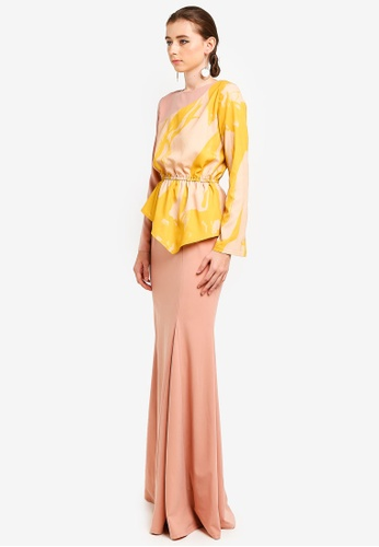 O'Keefe Unsymetrical Kurung from 3thelabel in pink and Yellow
