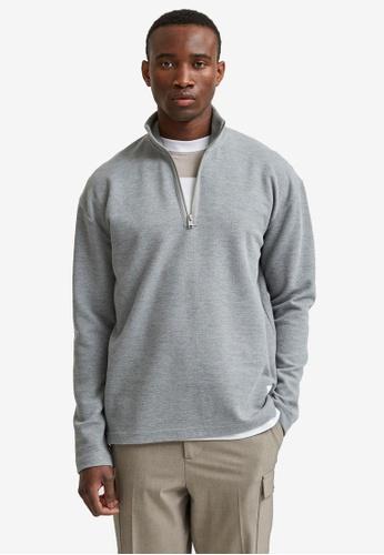 Selected Homme grey Zip Sweatshirt B024FAAA2D7C57GS_1
