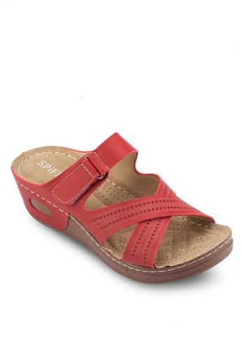 雕花交叉帶低楔形涼鞋esprit 京站, 女鞋, 鞋