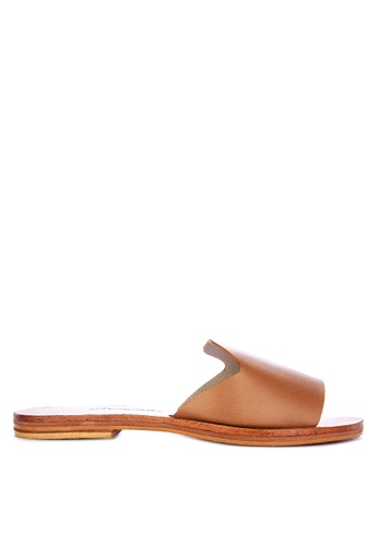 CARMELLETES brown Leather Flat Slides E9B8ASHB2322A3GS_1