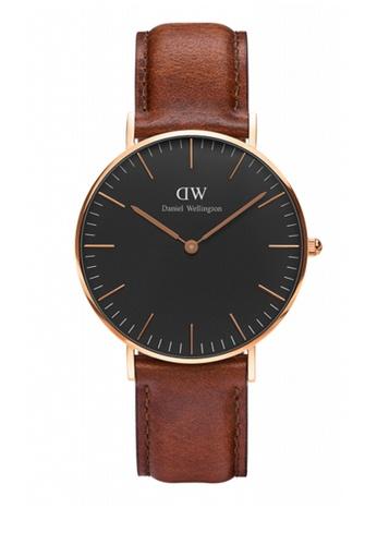 25fb0fb369ab Daniel Wellington brown Classic Black St Mawes Watch 36mm DA376AC79NBOMY 1