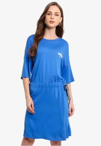 LC Waikiki blue Shirred Waist Slogan Detailed Dress D1581AA10C893DGS_1