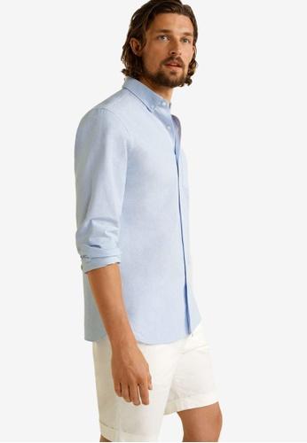 Mango Man 藍色 Regular Fit Oxford Cotton Shirt 9A88CAA3E91FE1GS_1