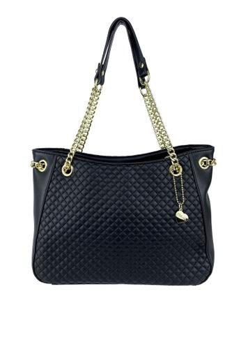 Mel&Co black Quilted Double Handle Chain Shoulder Bag E7E0DAC6258237GS_1