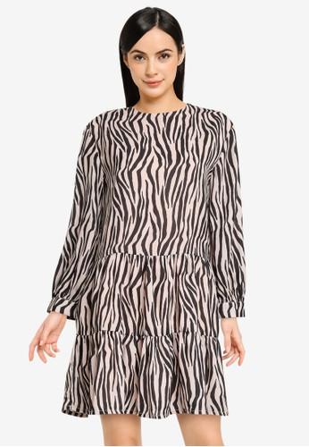 FabAlley beige Zebra Print Tiered Dress 7F50AAACB0D5A3GS_1