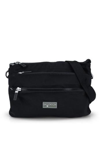 Bagstationz black Contrast Zip Nylon Sling Bag 3EE2BACF84FC89GS_1